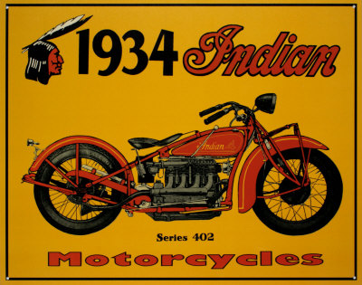 1934 Indian Motorcycles Emaille bord