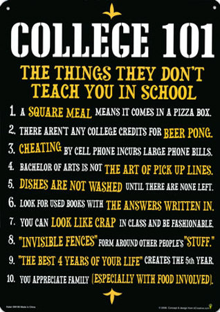College 101 Tin Sign