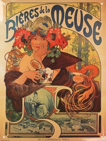 Bieres de la Meuse vintage tin sign art nouveau by Alphonse Mucha