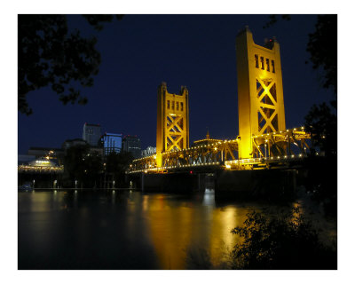 The Tower Bridge of Sacramento at Night, CA Photographic Print