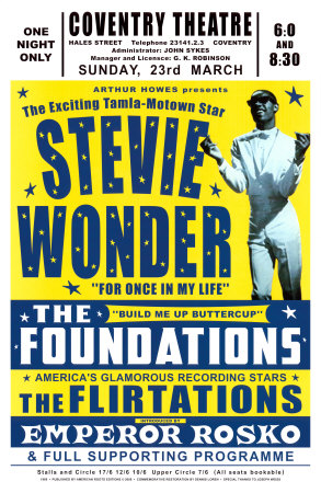 Stevie Wonder and the foundations concert poster for conventry theatre in 1969 poster artwork by Dennis Loren