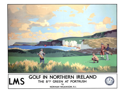 Golf in Northern Ireland, LMS Poster, circa 1925 Giclee Print by Norman Wilkinson