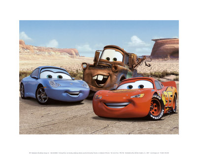 The Cast of Cars Reproduction d'art