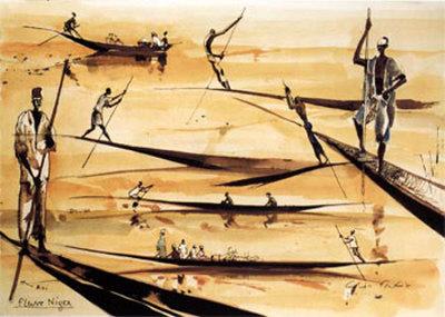 Pirogues du Niger Art by Gildas Flahault