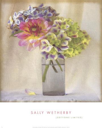 Dahlia with Hydrangeas II Prints by Sally Wetherby