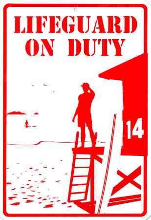 Lifeguard On Duty Tin Sign