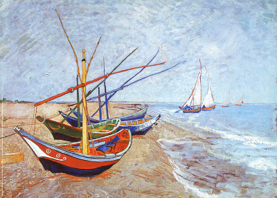 Fishing Boats on the Beach at Saints-Maries, c.1888 Taidevedos
