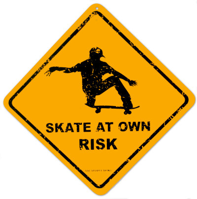 Skate At Own Risk Cartel de chapa en AllPosters.com.mx
