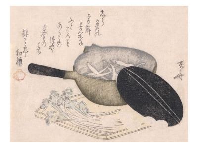 Still Life of Cut Vegetables and a Pot Containing Icefish Prints by Ryuryukyo Shinsai