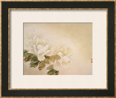 Green Peonies Prints by Minrong Wu