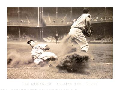 Joe DiMaggio Sliding into Third Poster