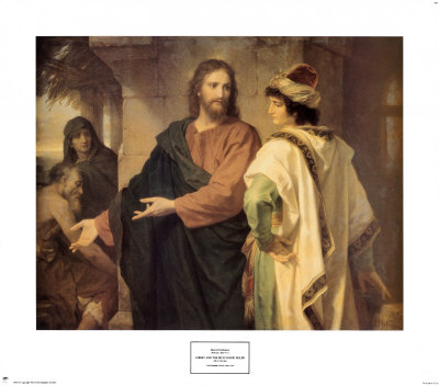 Christ and the Rich Young Ruler Plakater af Heinrich Hofmann
