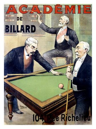 Academie de Billard Giclee Print by A. Gallice