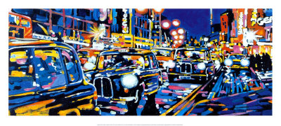 Black Cabs, London Art Print