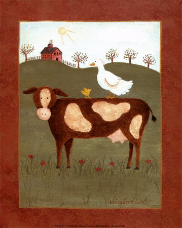 Vache et canard Reproduction d'art