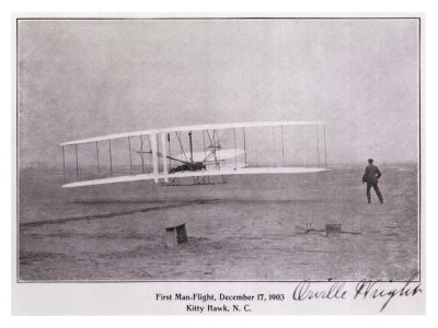 Wright Brothers Flight at Kitty Hawk Giclee-trykk
