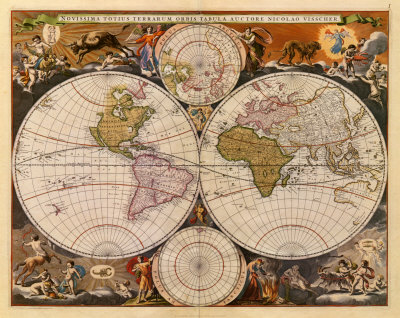 New World Map, 17th Century Art Print