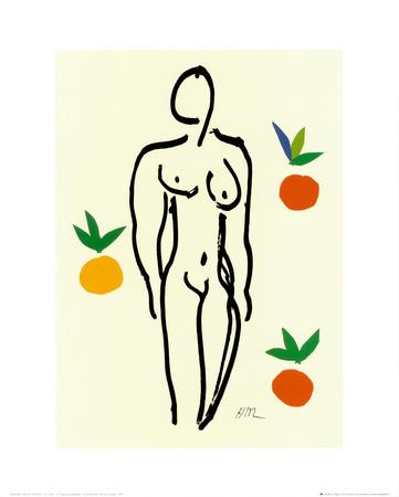 オレンジと裸婦 1953年 高画質プリント : アンリ・マティス