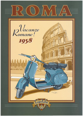Roma Scooter Posters by Bruno Pozzo
