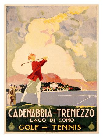 Cadenabbia to Tremezzo, Lago di Como, Golf and Tennis Giclee Print