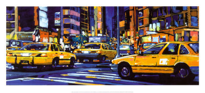 Yellow Cabs, New York City Art Print
