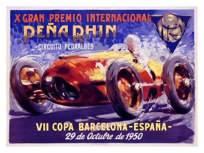 European Auto Racing Photographer on Pena Rhin Auto Racing  C 1950 Giclee Print By A  Garcia   Allposters