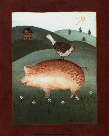 Cochon avec oie Reproduction d'art