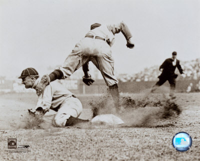 Ty Cobb - Sliding into base, sepia Photo