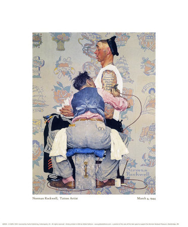 Tattoo Artist Giclee Print by Norman Rockwell at AllPosters.com