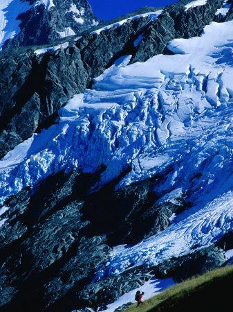 Hiker Ascending at Cascade Saddle, Mt. Aspiring National Park, Otago, New Zealand Photographic Print by Gareth McCormack