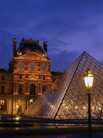 Museum De Paris. The Louvre Museum and Pyramid,