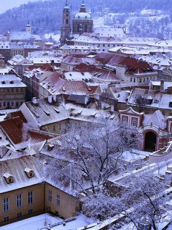 Snow-Covered Rooftops of Mala Strana, Prague, Czech Republic Photographic Print by Richard Nebesky