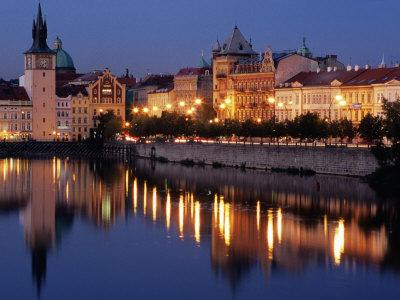 Lights Reflecting on Vltava River at Smetanova Embankment, Prague, Czech Republic Photographic Print by Richard Nebesky