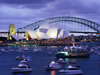 Opera House and Sydney Harbour Bridge with Crowded Harbour on New Years Eve, Sydney, Australia Photographic Print