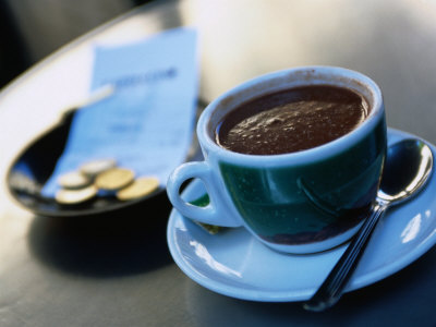 Hot Chocolate on Cafe Table, Barcelona, Spain Photographic Print