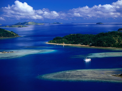 Aerial View of Island, Fiji Photographic Print by David Wall