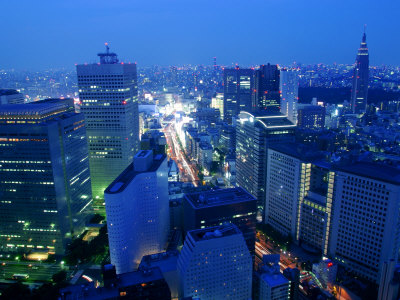City Skyline from Sky Bar, Park Hyatt Tokyo, Tokyo, Japan Photographic Print by Greg Elms