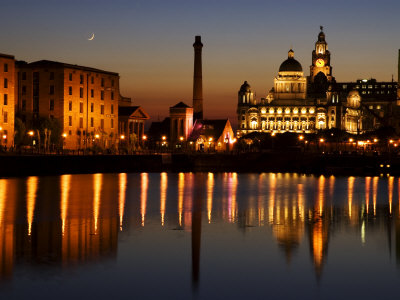 """Night View of Albert Dock and the """"Three Graces,"""" Liverpool, United Kingdom Photographic Print by Glenn Beanland"""