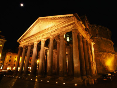 Full Moon Over Pantheon and Portico, Rome, Italy Photographic Print by Martin Moos