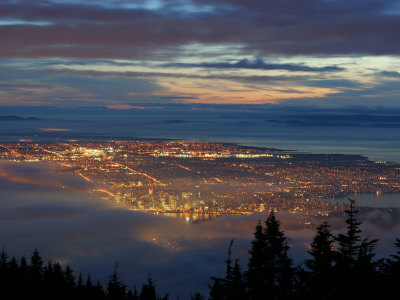 City from Grouse Mountain at Sunset, North Vancouver, Vancouver, Canada Photographic Print by Lawrence Worcester
