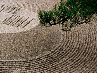 Raked Gravel Zen Garden at Eikando Temple, Kyoto, Japan Fotografisk tryk