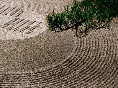 Raked Gravel Zen Garden at Eikando Temple, Kyoto, Japan Fotografisk tryk