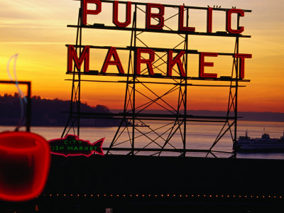 Pike Place Market Sign, Seattle, Washington, USA Photographic Print