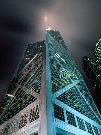 Bank of China at Night, Hong Kong, China Photographic Print by Lawrence Worcester