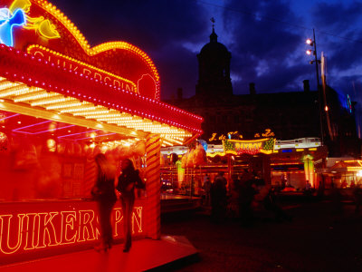 Fairyfloss Stand at Autumn Fair on Dam Square, Blur, Amsterdam, Netherlands Photographic Print by Richard Nebesky