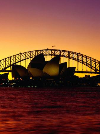 Sydney Opera House and Sydney Harbour Bridge at Sunset, Sydney, Australia Photographic Print by Richard I'Anson
