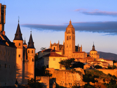The Cathedral of Segovia from a Hillside at Sunset, Segovia, Castilla-Y Leon, Spain Photographic Print by David Tomlinson