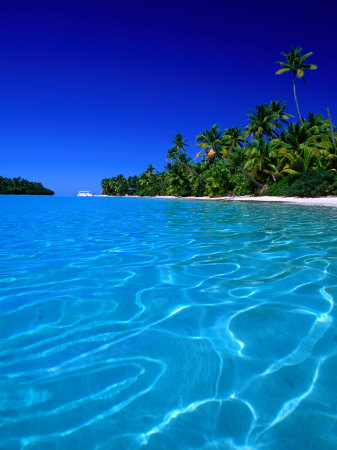 Tropical Lagoon Waters, Aitutaki, Southern Group, Cook Islands Photographic Print by Peter Hendrie