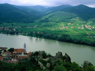 Danube Valley in Wachau Region with the Ruins of Kuenringer Castle, Durnstein, Austria Photographic Print by Diana Mayfield