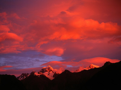 Alpenglow from Reflections off Snow Peaked Mountains, Mt. Tasman, New Zealand Photographic Print by Gareth McCormack